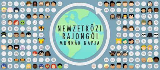 A Nemzetközi Rajongói Munkák napjának megünneplése, amit egy földgömb körül fandom tematikájú emojik és rajongói munkák reprezentációi mutat be