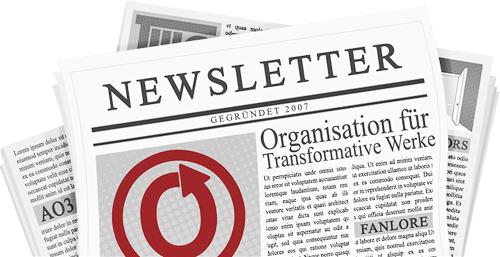 Banner von caitie; Eine Zeitung mit den Namen und Logos der OTW und ihrer Projekte auf den Seiten.